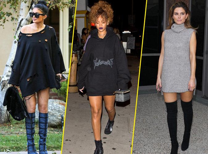 Kylie Jenner, Rihanna, Maria Menounos... Comme elles, on craque pour la robe pull pour un look girly même l'hiver !