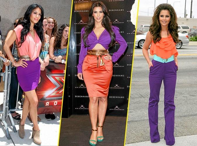 Elles portent toutes ... le look color block orange et violet !
