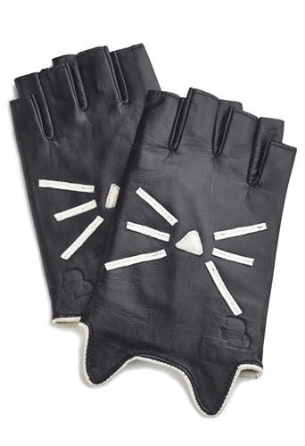 Mitaines en cuir de la collection Karl Lagerfeld inspirée de Choupette, 85€