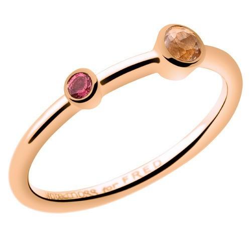 Bague en or rose, quartz rose et rubellite, Kate Moss for Fred, 490 €.