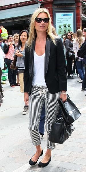 Kate Moss, en rayures londoniennes.