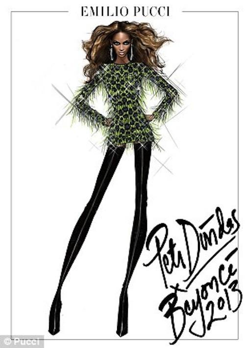 Esquisses de tenue à imprimé psychédélique pour la belle Beyoncé !