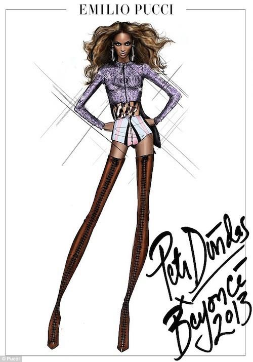 Haut pourpre et mini short pour cette tenue inventée par la marque Pucci !