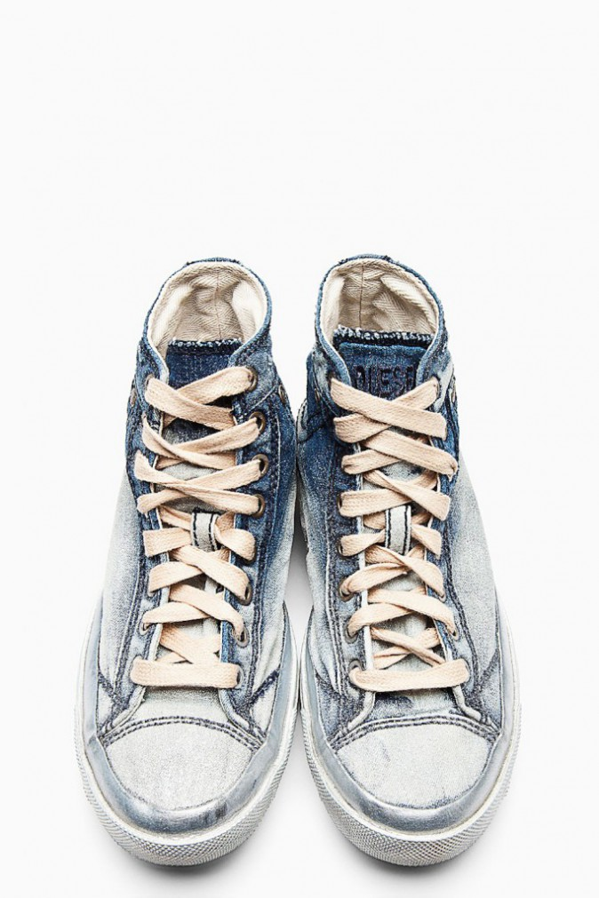 Baskets en denim délavées, Diesel 103€