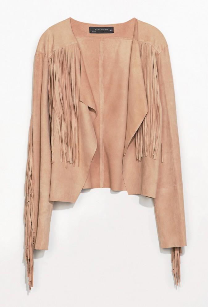 Veste en peau à franges, Zara 139 €