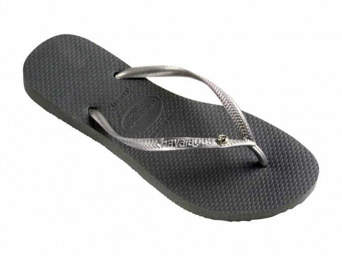 Tongs Slim Crystal Glamour Swarovski, grey/silver, Havaianas 40 €