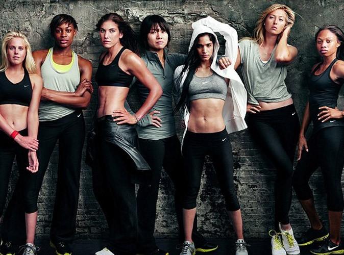 De gauche à droite : Laura Enever, Perri Shakes-Dreyton, Hope Solo, Li Na, Sofia Boutella, Maria Sharapova et Allyson Felix