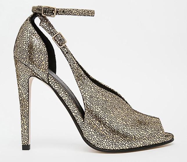 Escarpins open toes dorés, Asos 55,99€