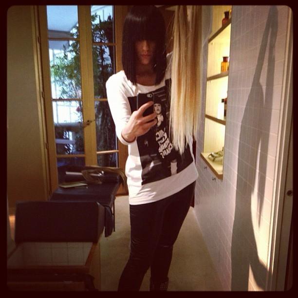 T-shirt rock et leggings façon cuir