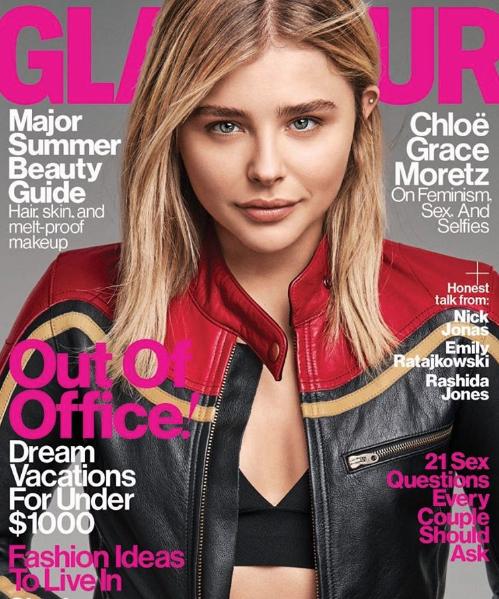 Chloë Grace Moretz en couverture du magazine Glamour US