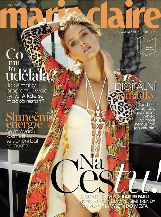 Le mannequin Bar Refaeli pose en couverture du magazine Marie Claire de République Tchèque