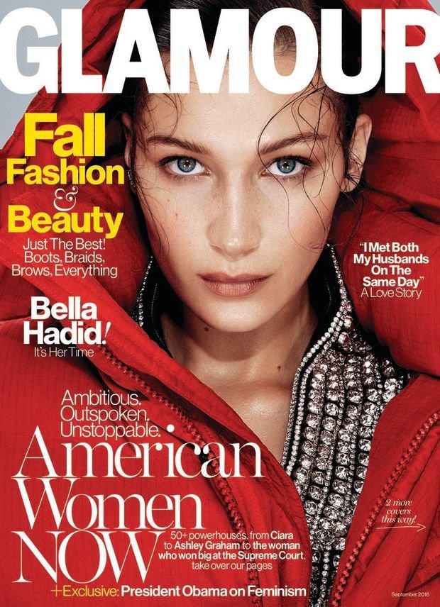 Bella Hadid en couverture de Glamour US