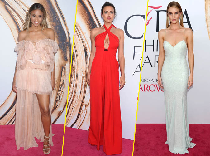 Ciara, Irina Shayk et Rosie Huntington-Whiteley lors de la cérémonie des CFDA Fashion Awards 2016