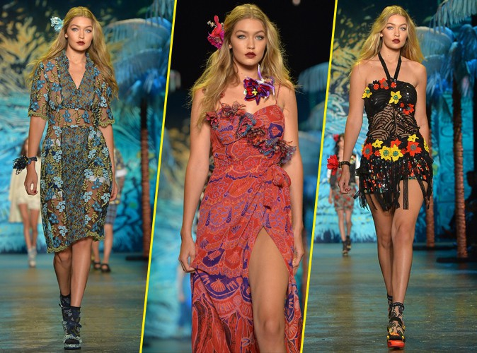 Photos : Fashion Week de New York : colorée et fleurie, Gigi Hadid brille pour Anna Sui !