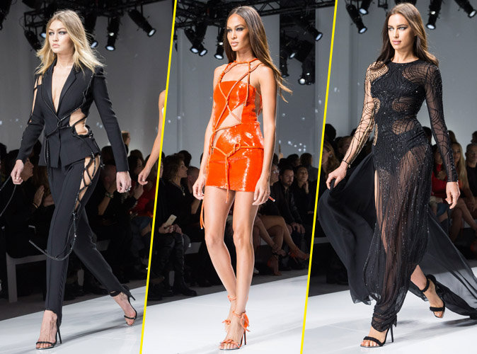 Gigi Hadid, Joan Smalls et Irina Shayk au défilé Atelier Versace