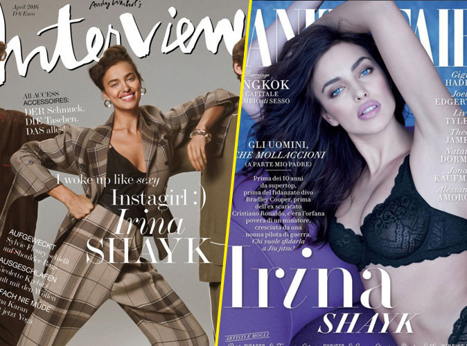 Photos : Irina Shayk : look boyfriend, sourire XXL et lingerie sexy en couverture des magazines Interview et Vanity Fair