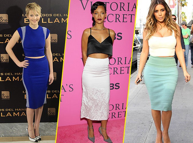 Photos : Kim Kardashian, Jessica Alba, Rihanna... : l'ensemble crop top-jupe crayon fait fureur chez les stars !