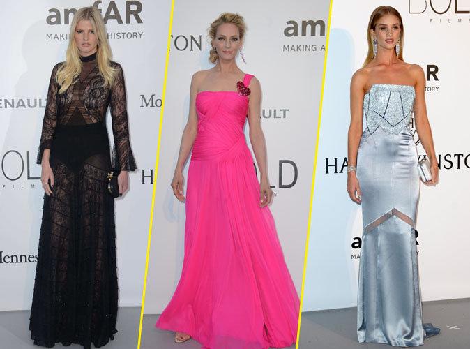 Photos : Lara Stone, Uma Thurman, Rosie Huntington-Whiteley ... festival de robes longues au gala de l'AmFAR !