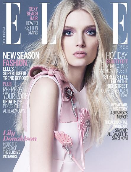 Lily Donaldson pour le ELLE UK d'août 2015