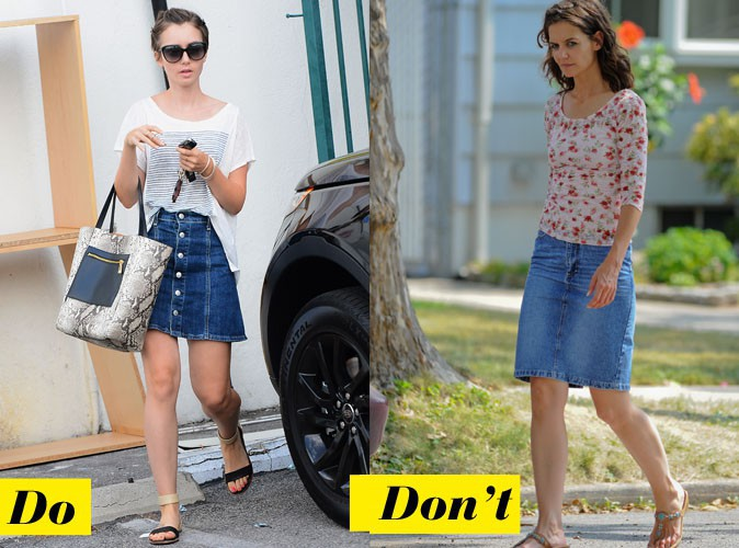 La jupe en jean - Do : Lily Collins / Don't : Katie Holmes