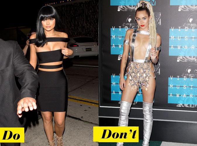 La robe ajourée en bandes - Do : Kylie Jenner / Don't : Miley Cyrus