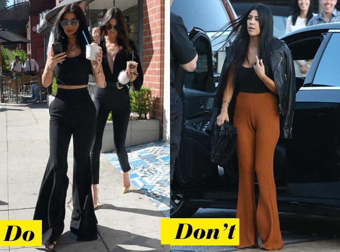 Le pantalon seventies - Do : Kylie Jenner / Don't : Kourtney Kardashian