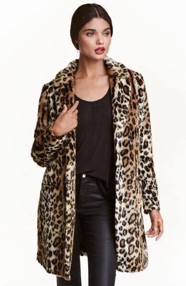 Manteau léopard en fausse fourrure - H&M -  99€