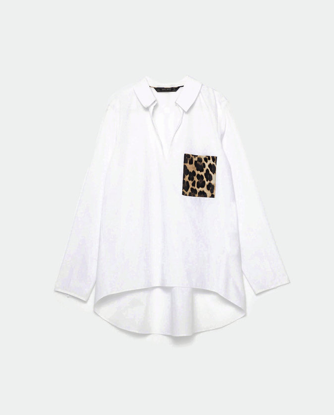 Chemise à poche léopard, Zara 29,95 €