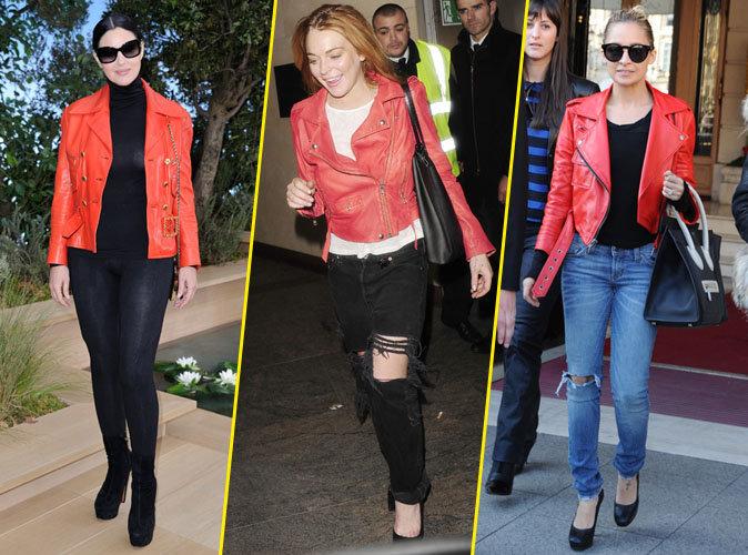 Photos : Monica Belluci, Lindsay Lohan, Nicole Richie... Elles craquent tous pour le perfecto rouge !