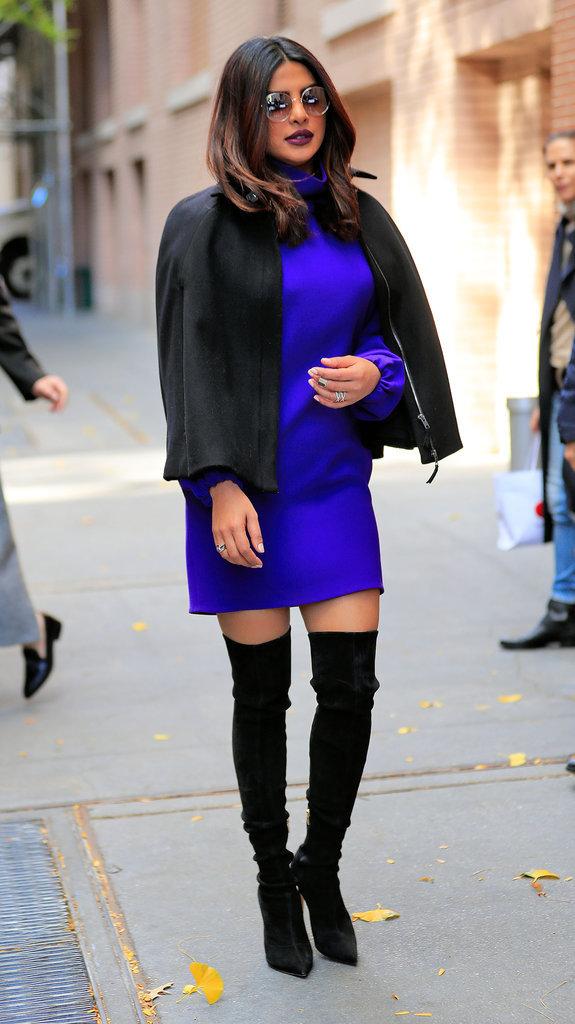 Priyanka Chopra : Le violet et les lunettes vintage, on adore !