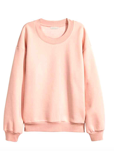 1) Sweat rose poudré – H&M – 19,99€
