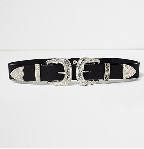 Ceinture noire à deux grosses boucles style Western – RIVER ISLAND – 22€