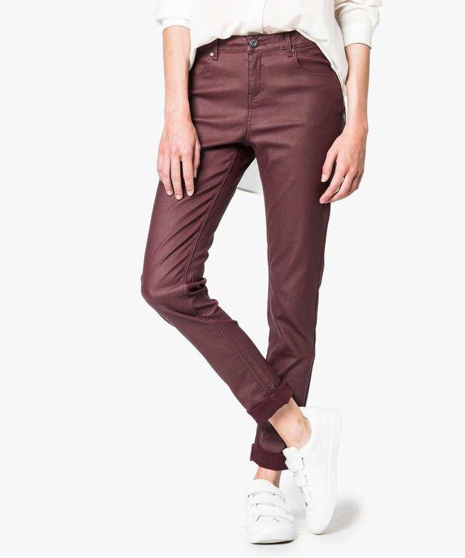 Pantalon cuir enduit bordeaux – GEMO – 29,99€