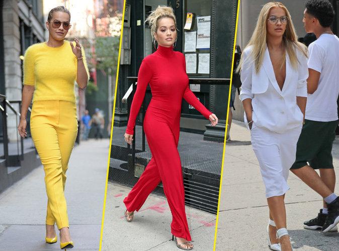 Photos : Rita Ora : jaune, rouge ou blanc, elle ne jure plus que par le total look !