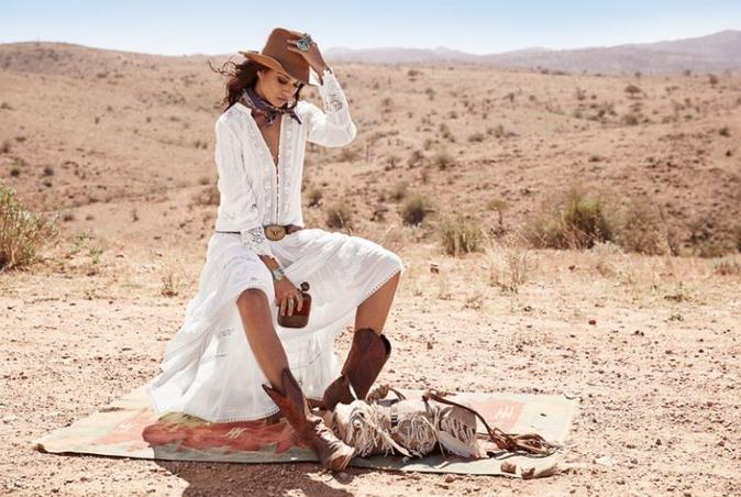 Shanina Shaik : Cow-girl sexy et bohème pour la marque australienne Spell !