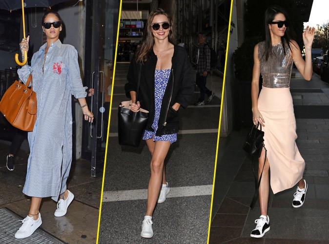 Photos : Tendances : Rihanna, Miranda, Kendall.. Toutes fans du combo robe/baskets !