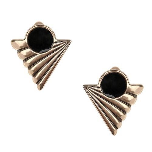 Boucles d'oreilles, estampe Art déco, émaillage noir. Virginie Mahé sur virginiemahe.com 55 €