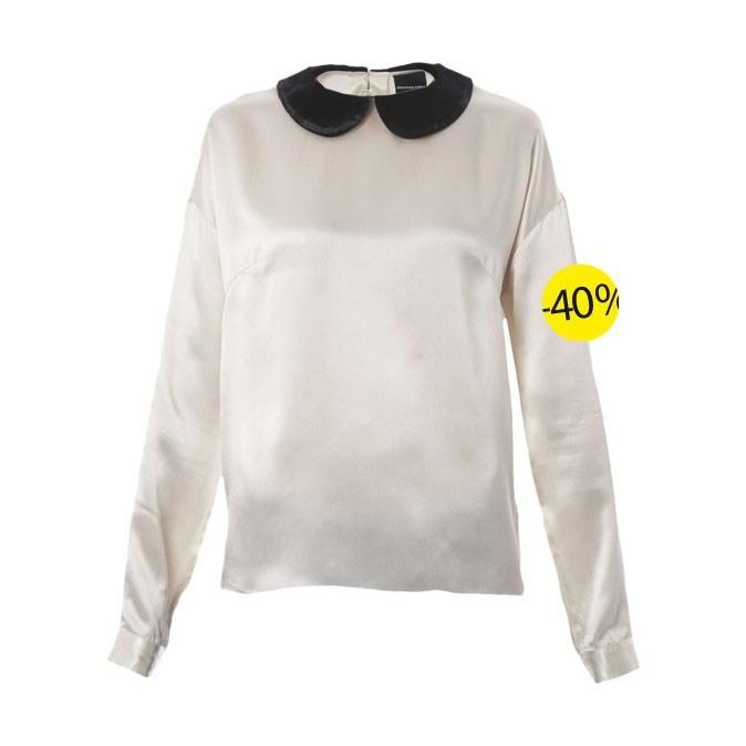 Chemise blouse en soie ivoire et noire April May chez Brandalley : 118 euros au lieu de 195 euros