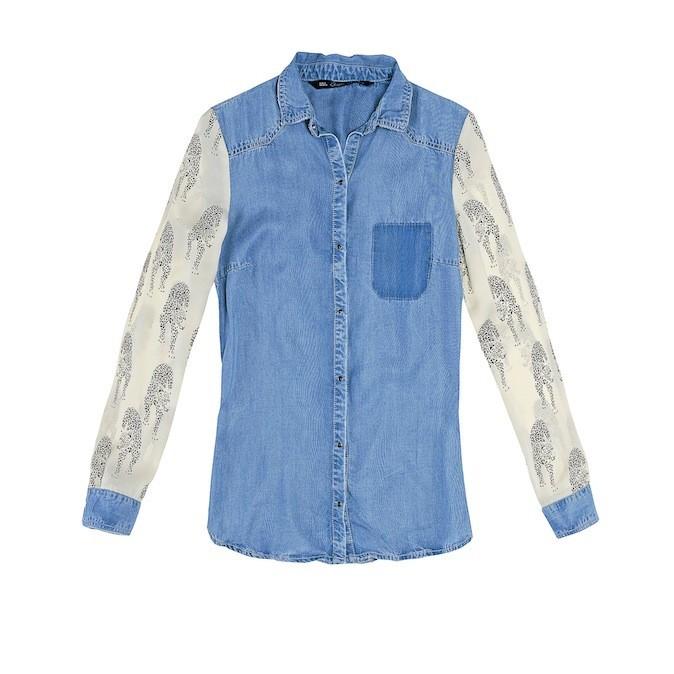 Chemise en denim manches en coton, Zara 39€