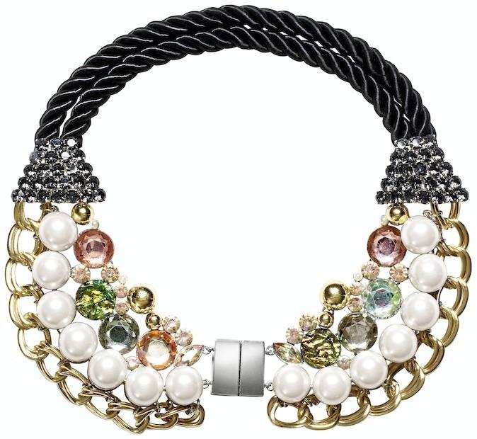 Collier strass, chaînes et cordes, H&M 29,95 €