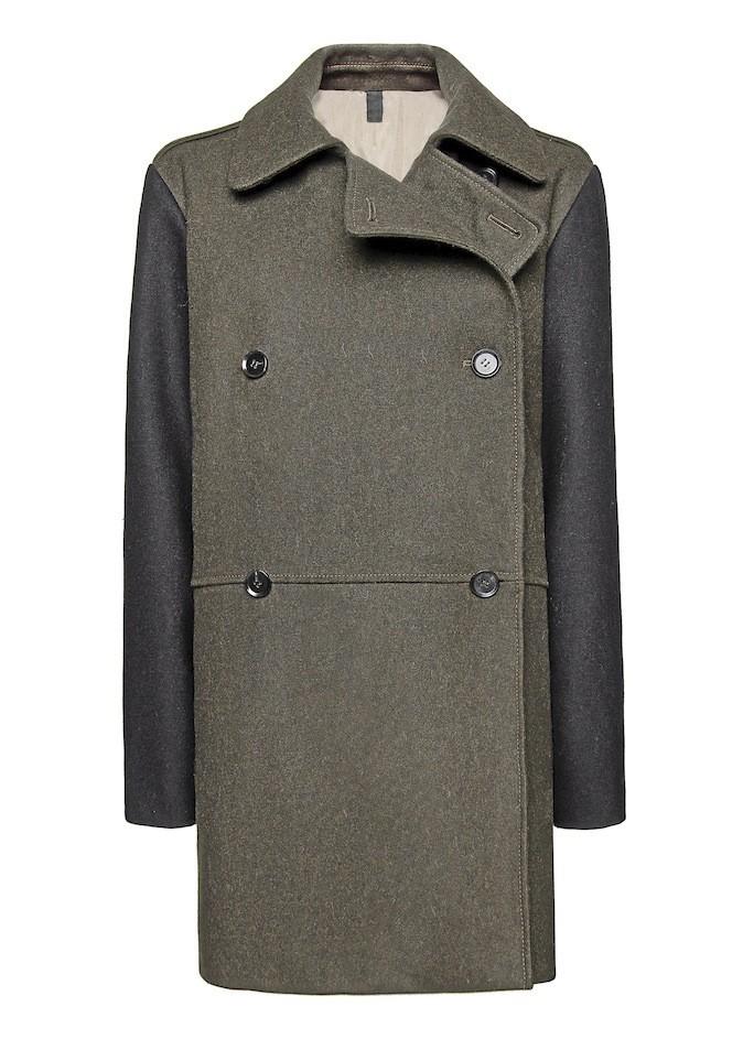 Manteau en laine, manches en cuir, Mango 149