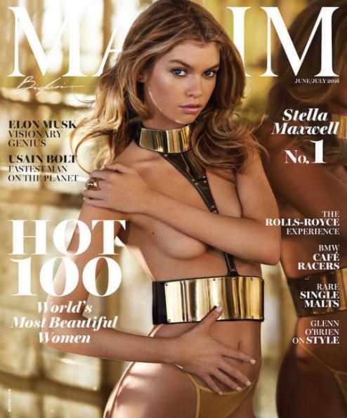 Stella Maxwell en couverture de Maxime Magazine