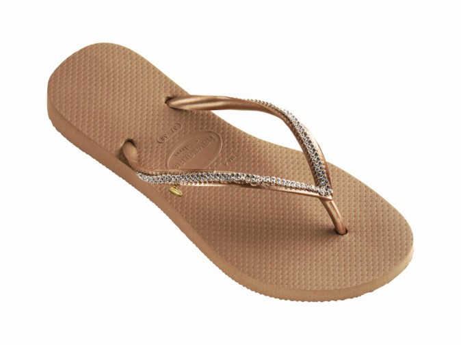 Tongs slim Crystal Mesh Swarovski II rose gold, Havaianas 160 €