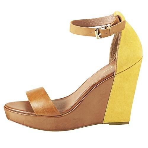 Sandales compensées bouts ouverts en cuir, La Redoute 69,99€