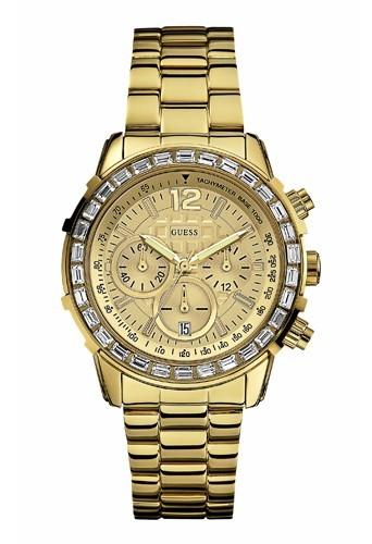 Bracelet en or et cadran en strass, Guess, 255 €.