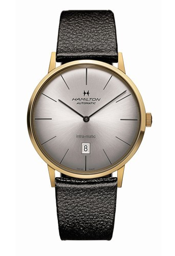 Bracelet en cuir noir, cadran doré, Hamilton 755 €.