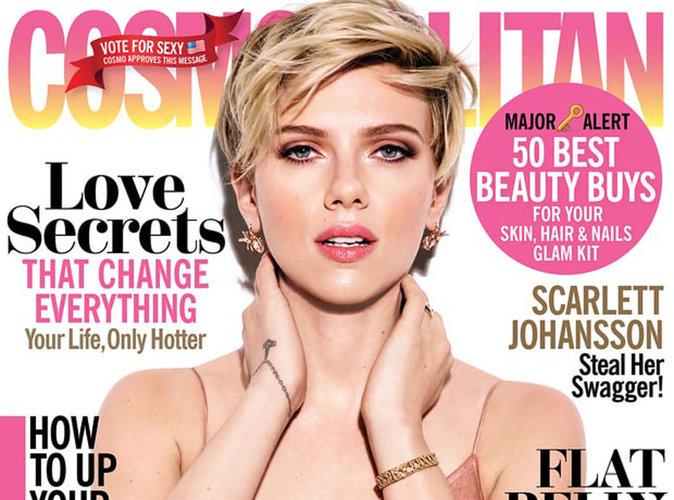 Scarlett Johansson : coupe garçonne et décolleté plongeant en couverture de Cosmopolitan US