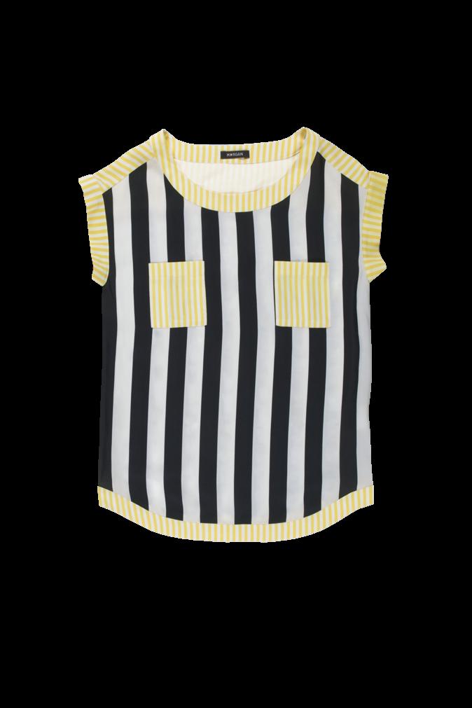 T-shirt manches courtes avec rayures noires/blanches/jaunes, Morgan. 45 €