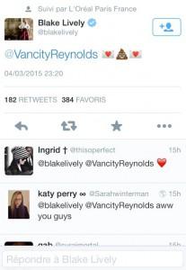 Tweet de Blake Lively à Ryan Reynolds