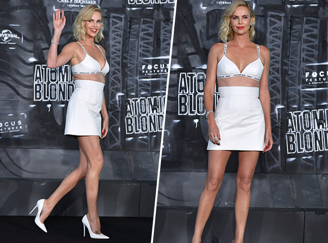 Charlize Theron : Crop top et mini-jupe Dior... on adore !